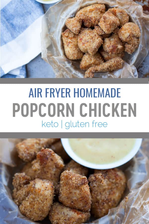 """Homemade Air Fryer Popcorn Chicken makes a great appetizer or main protein using chicken breast that is """"breaded"""" with keto and gluten free """"breadcrumbs"""" that adults and kids love!#airfryer #keto #glutenfree"""