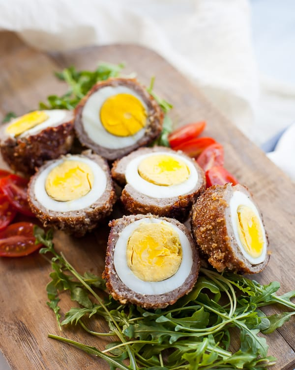 air fryer scotch eggs with salad
