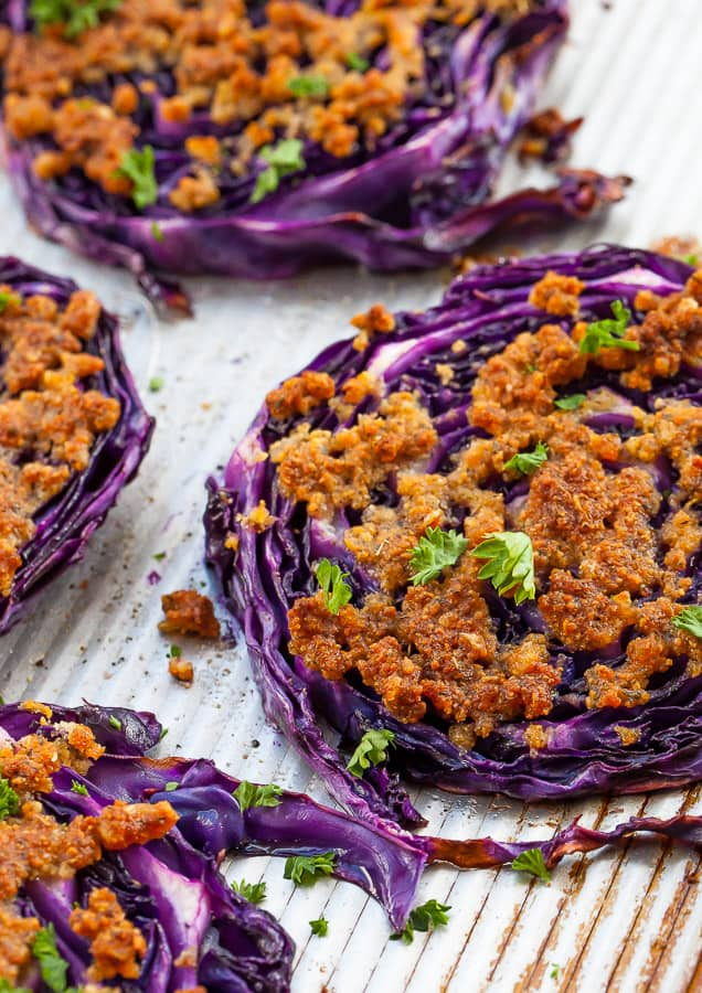 sliced purple cabbage steaks