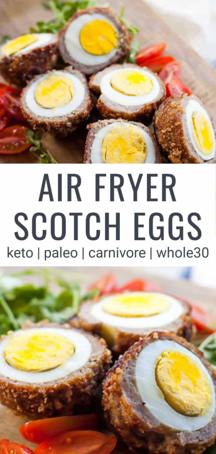Using the air fryer, you can make a perfect scotch egg with 3 simple ingredients, eggs, ground sausage and pork panko or breadcrumbs. Air Fryer Scotch Eggs are the perfect easy recipe to elevate your breakfast, brunch or snack time and can be modified for keto, Whole30 and Paleo friendly diets.#whole30 #paleo #keto #airfryer #scotcheggs