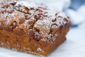 pumpkin loaf with powdered sugar