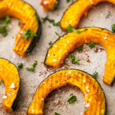 roasted kabocha squash on pan