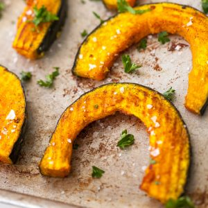 roasted kabocha squash in pan