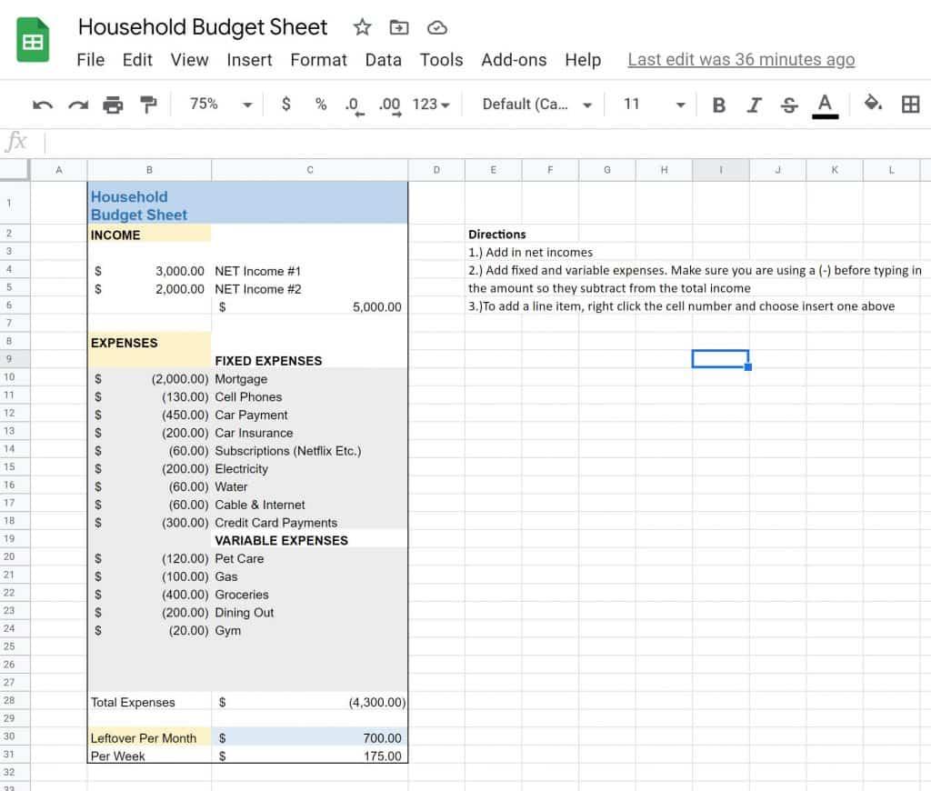 household budget google spreadsheet